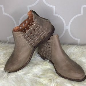 Chocolat Blu Faven woven leather booties